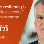 Photo of Merritt Maxim, Forrester VP, with a quote that says business resiliency is absolutely essential