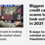 "A photo of a PC gamer, with text overlays of this week's headlines, including ""Mastercard is looking to grab market share in eSports,"" ""Biggest credit card scams in 2021,"" and ""6 ways to combat online fraudsters."""