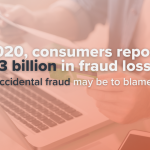 "A photo of a person sitting at a laptop, reviewing their credit card statement, with a text overlay that says ""In 2020, consumers reported $3.3 billion in fraud losses; accidental fraud may be to blame."""