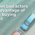 "Cars parked in a curbside line for BOPIS pickup with a text overlay that says ""Don't let bad actors take advantage of BOPIS buying options."""